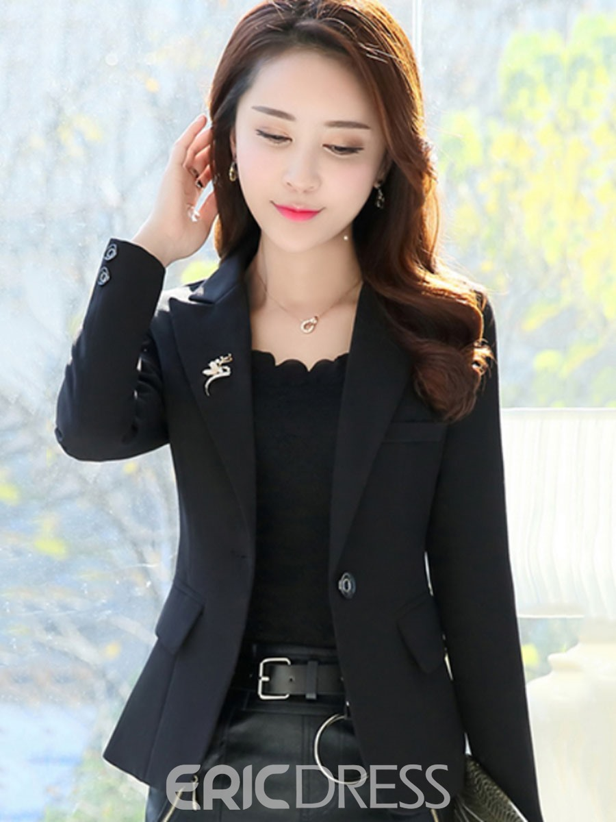 Ericdress Slim Short One Button Plain Blazer