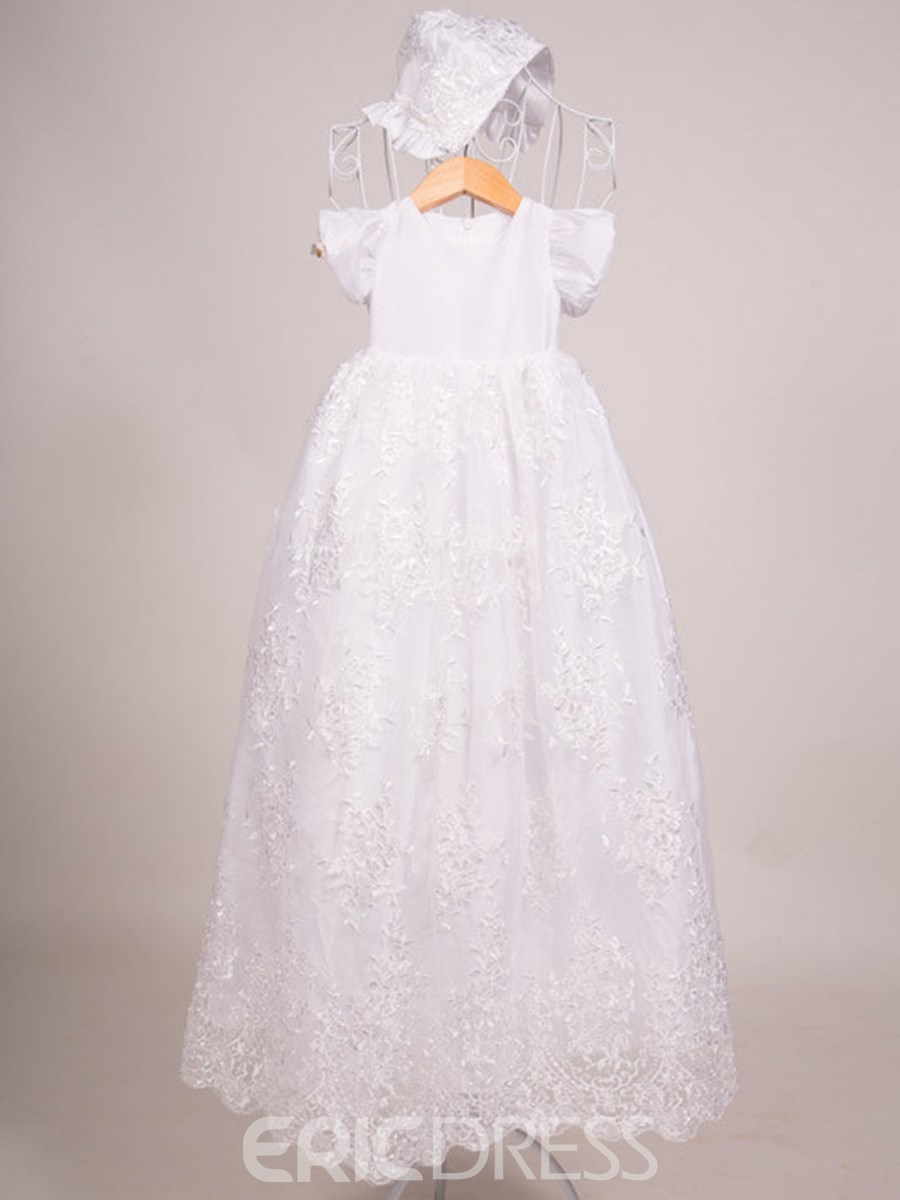 Ericdress Jewel Short Sleeves A Line Lace Baby Christening Gown ...