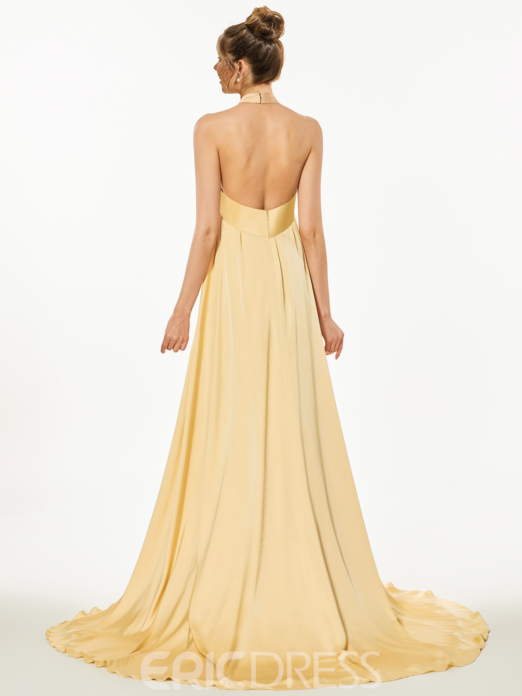 Ericdress A-Line Empire Halter Backless Court Train Evening Dress