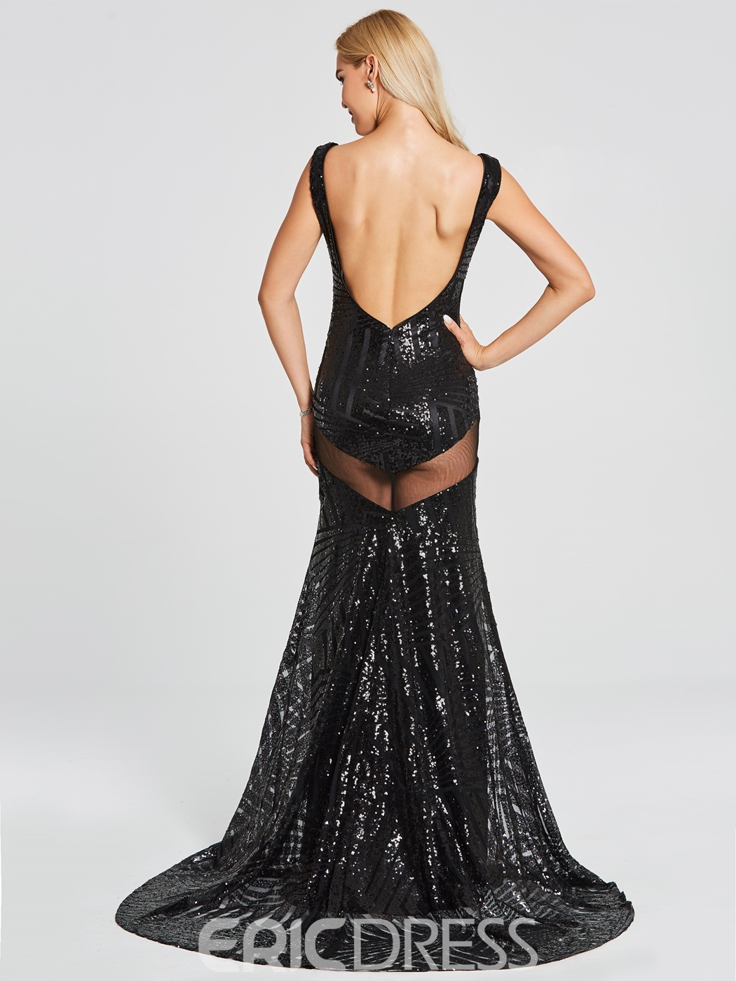 Ericdress Sexy V Neck Sequins Backless Mermaid Evening Dress