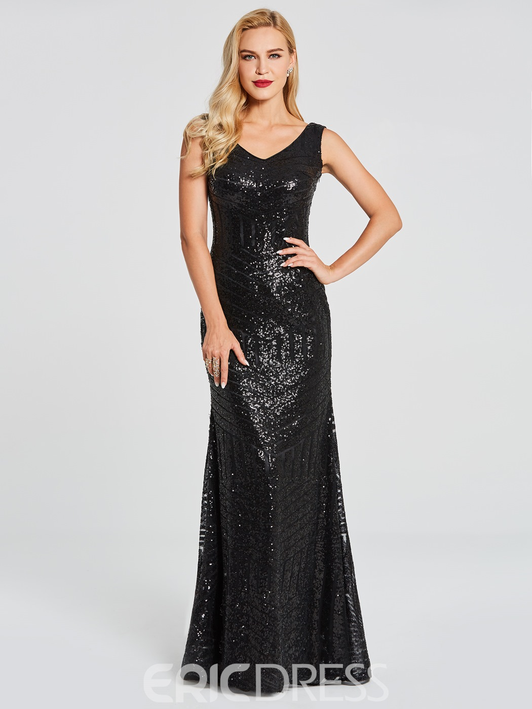 Ericdress V Neck Sequin Floor Length Mermaid Evening Dress