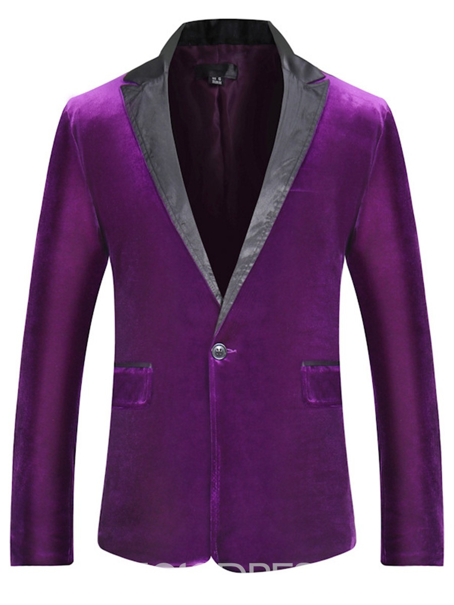 Ericdress Suede Color Block Lapel Slim Men's Blazer