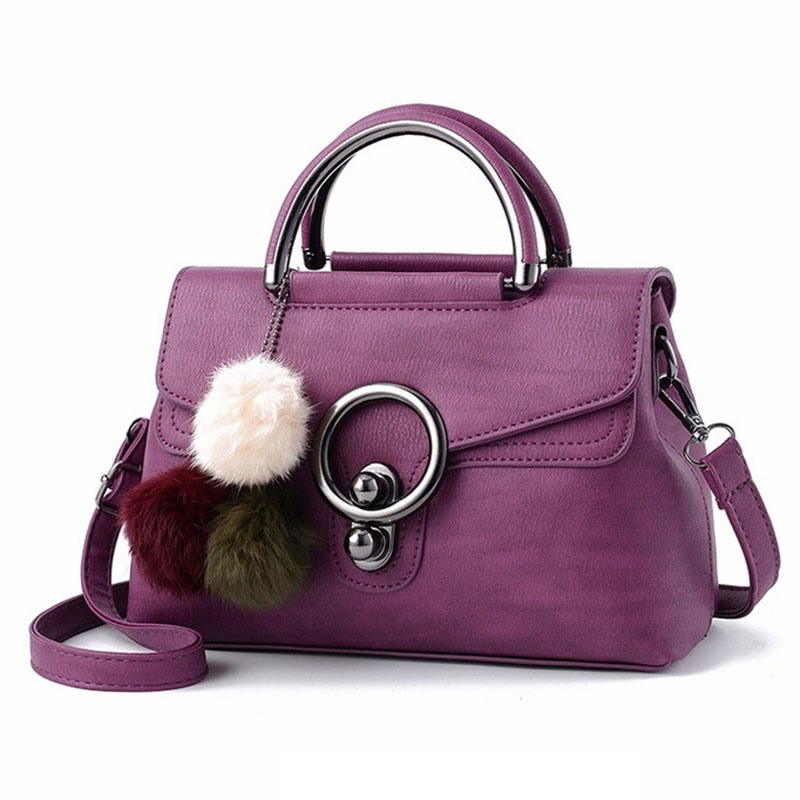 Ericdress Solid Color Plush Ball Pendant Crossbody Bag