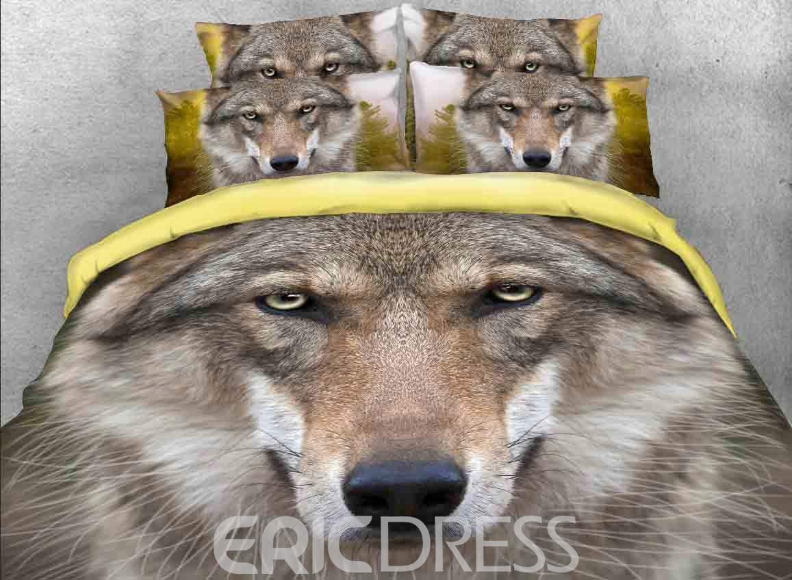 Vivilinen 3D Grey Wolf Face Printed Cotton 4-Piece Bedding Sets/Duvet Covers