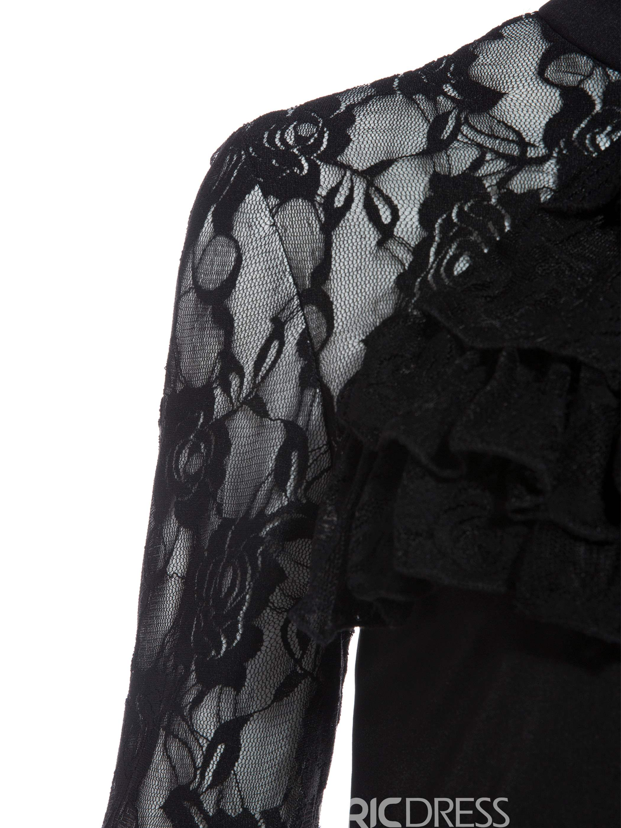 Ericdress Stand Collar Lace See-Through Blouse
