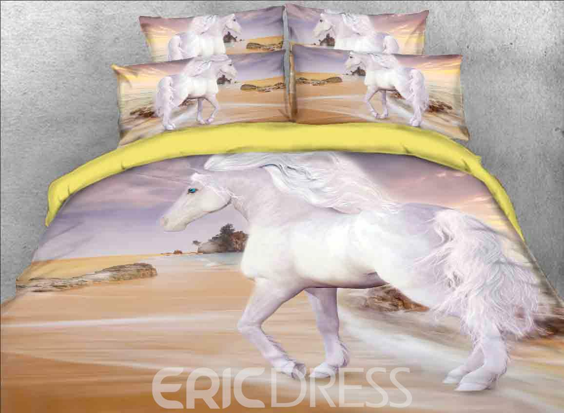 Vivilinen Unicorn at the Beach Printed Cotton 4-Piece 3D Bedding Sets/Duvet Covers