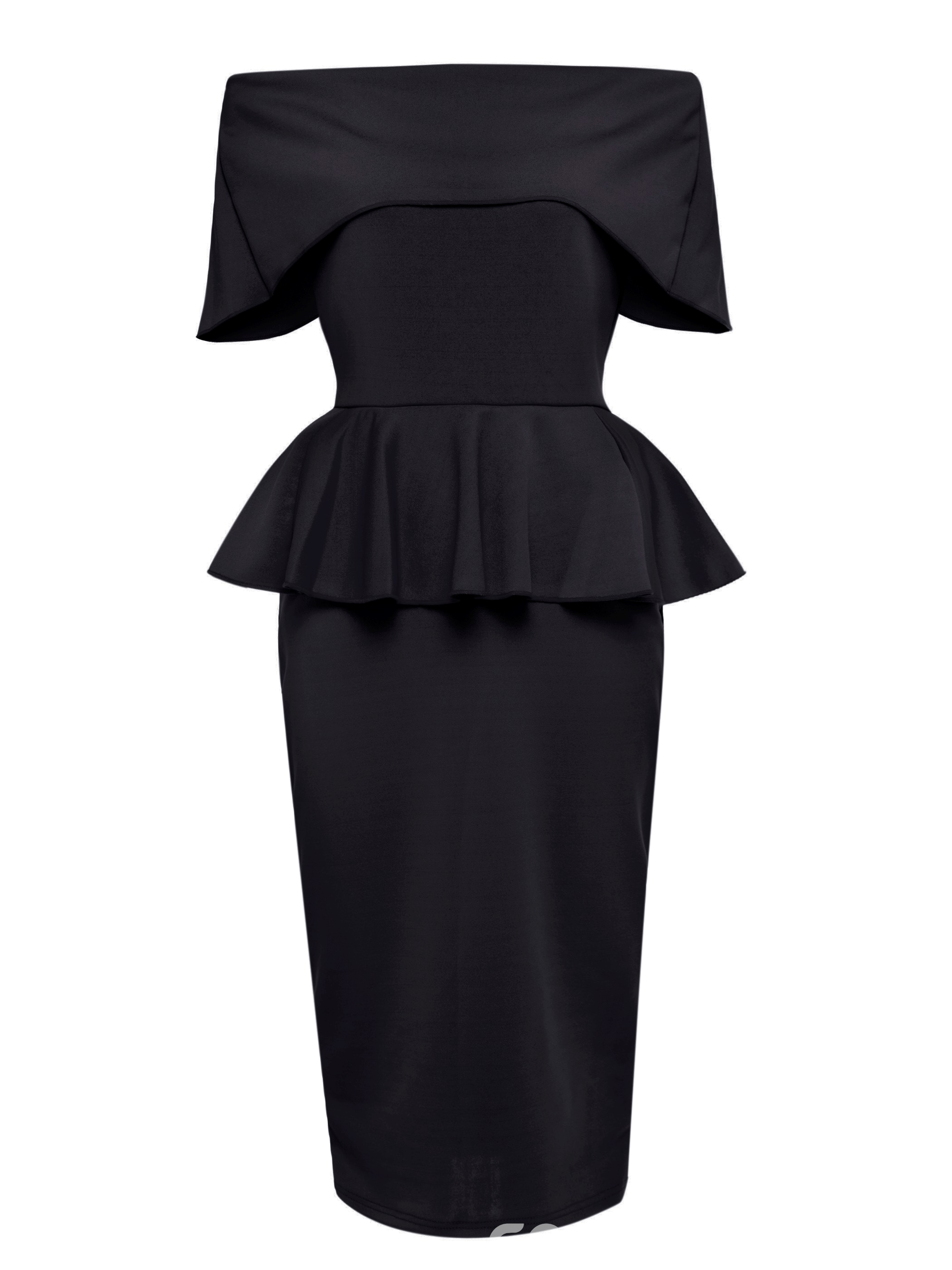 ericdress slash neck überlagerte ruffles bodycon kleid