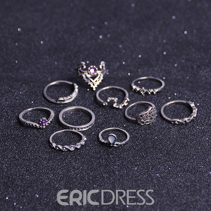 Ericdress Trendy Crown 10-Piece Ring for Women