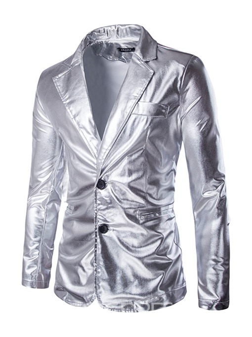 Ericdress Plain Notched Lapel Metallic Single-Breasted Mens Party Blazer