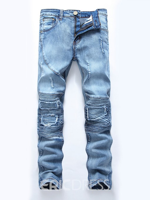 Ericdress Worn Slim Patchwork Men's Denim Pants