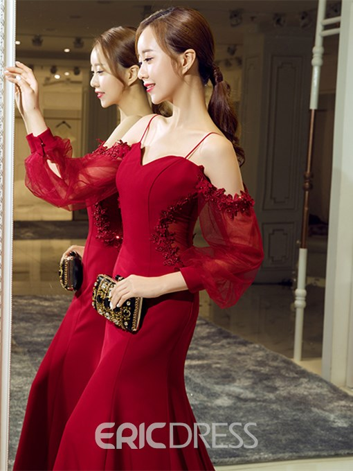 Ericdress Spaghetti Straps Long Sleeve Applique Mermaid Evening Dress
