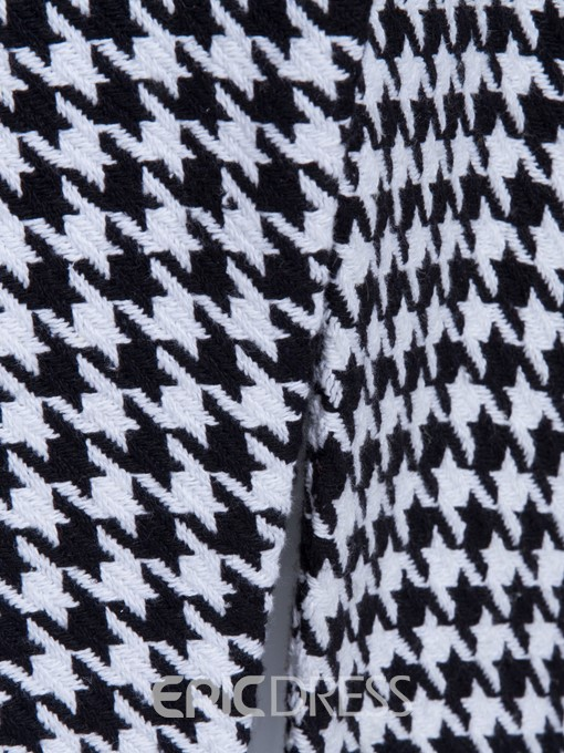 Ericdress Slim Mid-Length Houndstooth Trench Coat