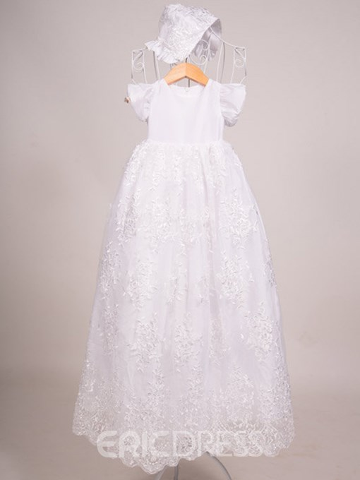 Ericdress Jewel Short Sleeves A Line Lace Baby Christening Gown
