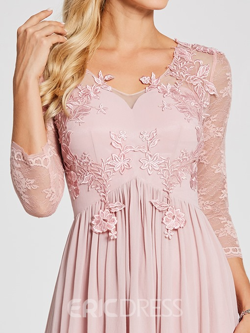 Ericdress V Neck Long Sleeves Lace Appliques Evening Dress