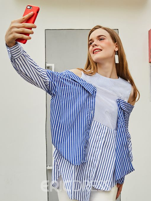 Ericdress Color Block Stripe Cold Shoulder Blouse