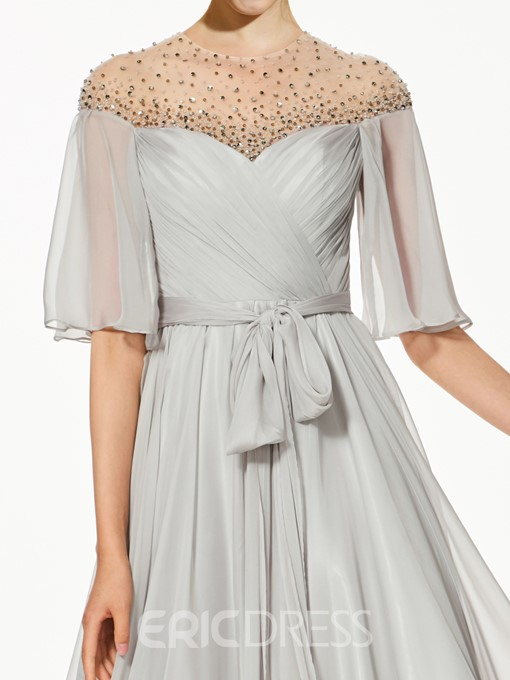 Ericdress A-Line Half Sleeves Beading Bowknot Sashes Evening Dress