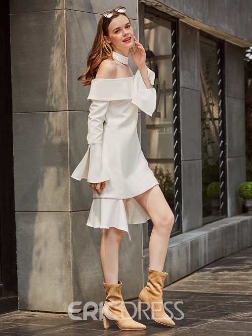 Ericdress Off-the-Shoulder Belt Sleeves Asymmetric Casual Dress