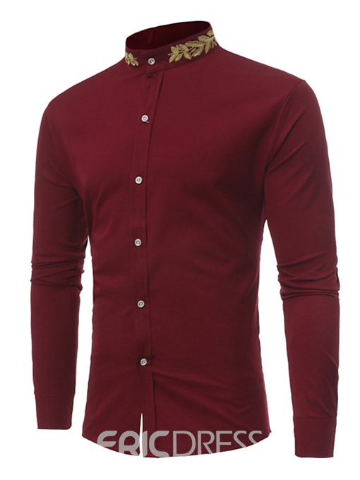Ericdress Stand Collar Plain Embroidery Mens Straight Shirt