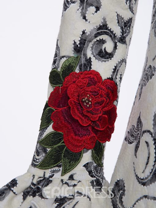 Ericdress Color Block Floral Embroideried A-Line Dress