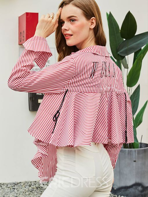 Ericdress Lapel Single-Breasted Stripe Letter Blouse