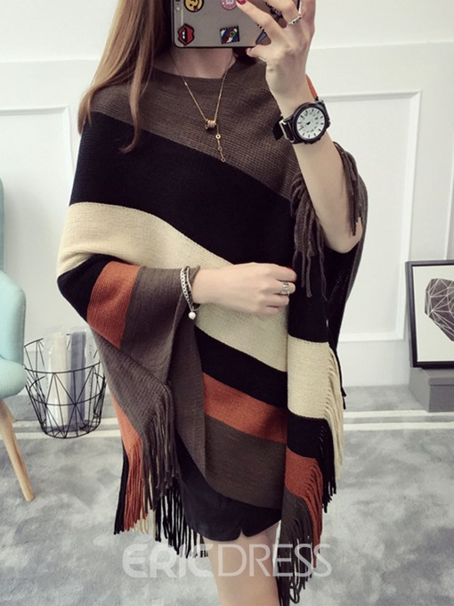 Ericdress Loose Stripe Tassel Cape