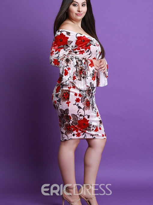 Ericdress Plus Size Slash Neck Floral Ruffle Sleeve Bodycon Dress