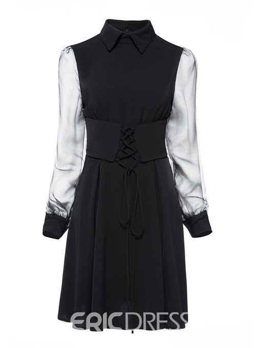 Ericdress Standard-Waist Single Long Sleeve A Line Dress