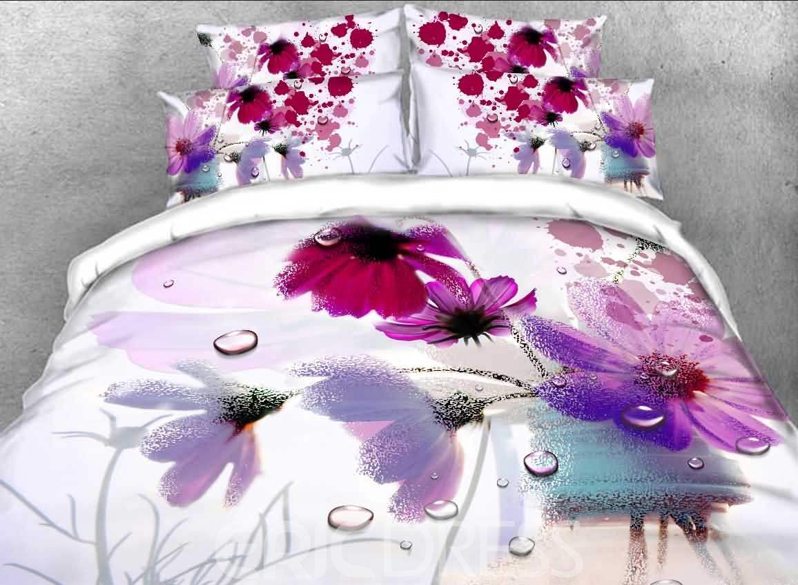 Watercolor Poppy Printed Cotton 4-Piece 3D Bedding Sets/Duvet Covers