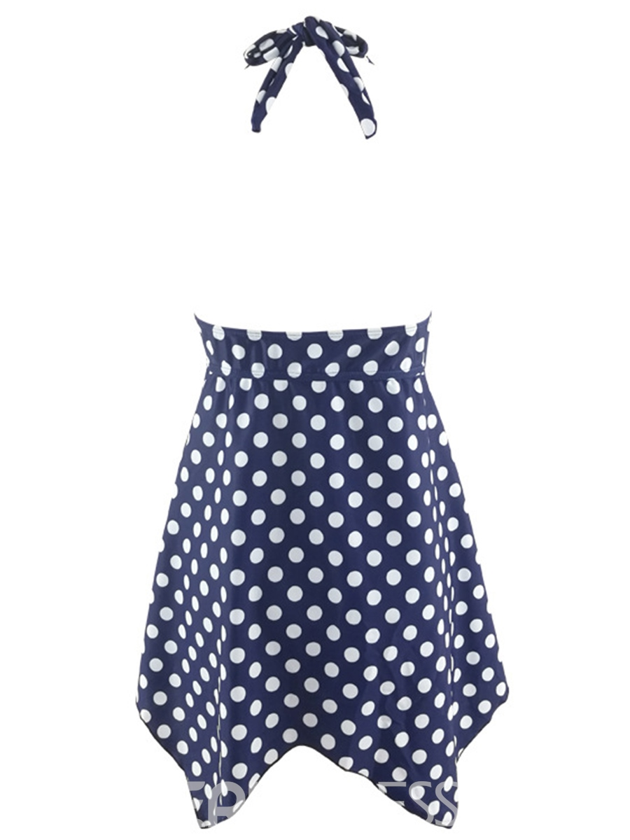 Ericdress Vintage Polka Dots Lace-Up Tankini Set