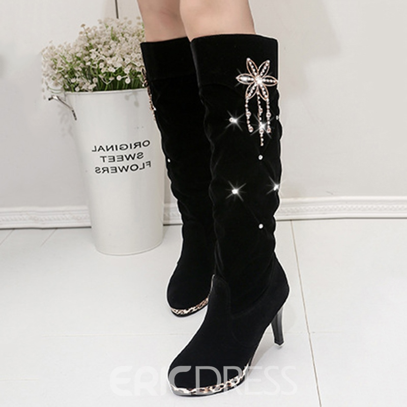 Ericdress Rhinestone Round Toe Plain Knee High Boots