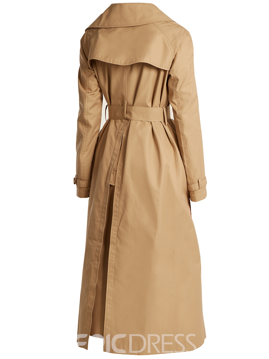 Ericdress Plain Double-Breasted Long Trench Coat
