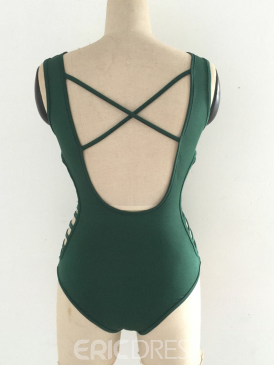 Ericdress V-Neck Hollow Backless Monokini