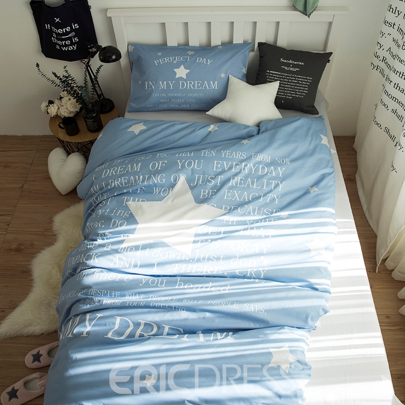Vivilinen White Star Printed Cotton 3-Piece Light Blue Duvet Covers/Bedding Sets