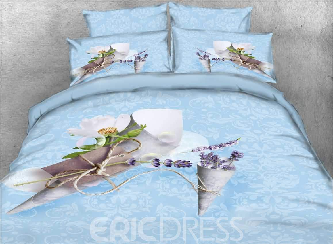 Lavender and Letter Printed Cotton 4-Piece 3D Blue Bedding Sets/Duvet Covers