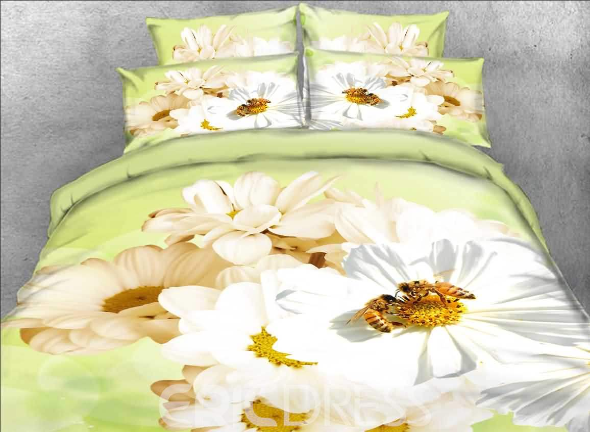 Vivilinen White Daisy and Bee Printed Cotton 4-Piece 3D Bedding Sets/Duvet Covers