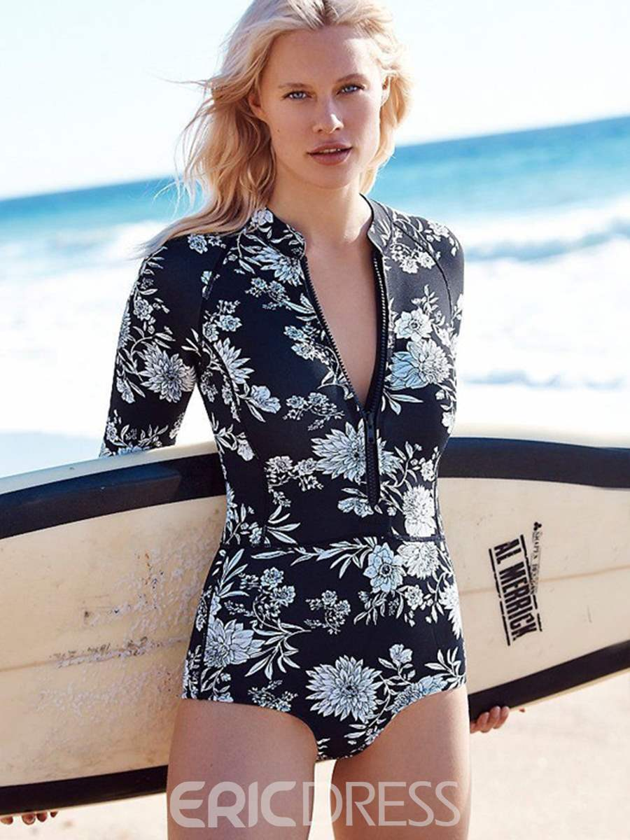 Ericdress Print Zipper Long Sleeve Monokini
