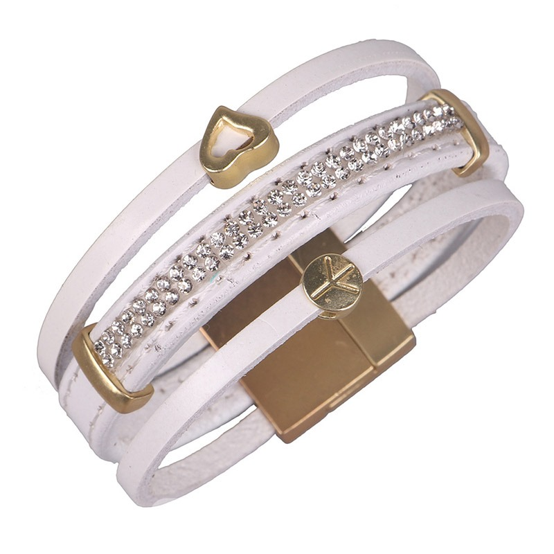 Ericdress Multilayer Diamante Leather Magnetic Snap Bracelet