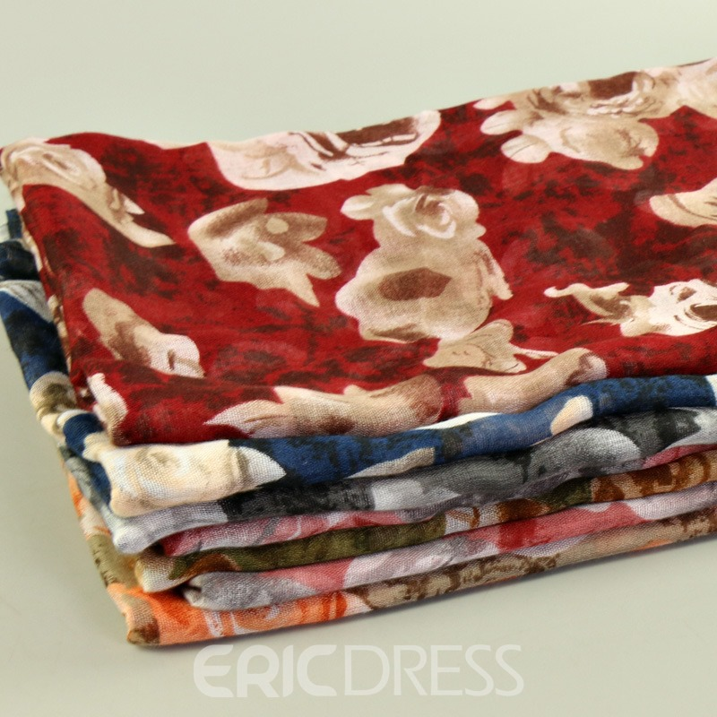 Ericdress National Style Rose Printed Cozy Women's Scarf