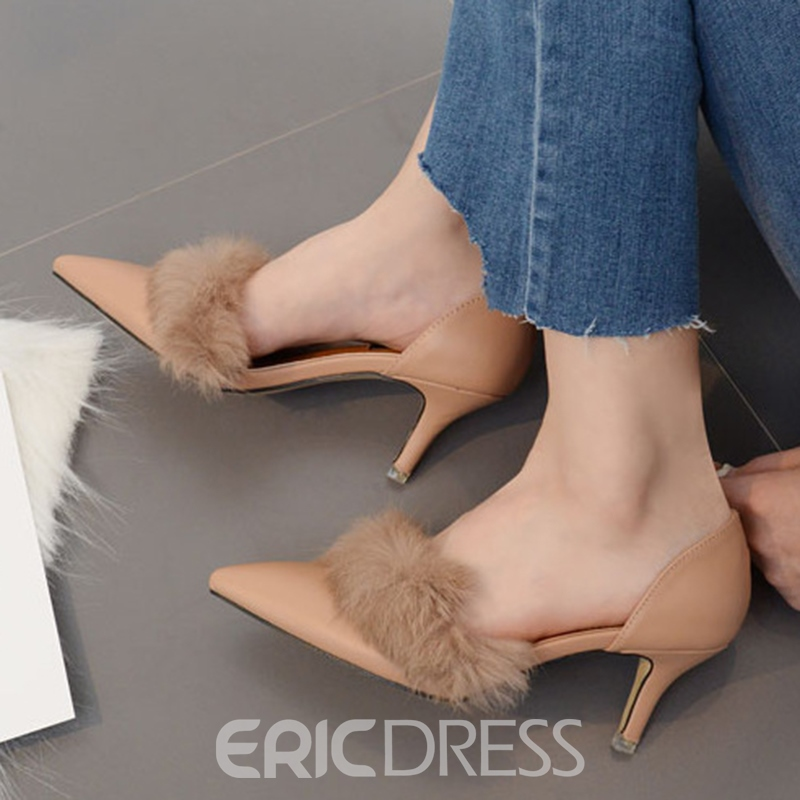 Ericdress Pointed Toe Patchwork Slip-On Women's Pumps
