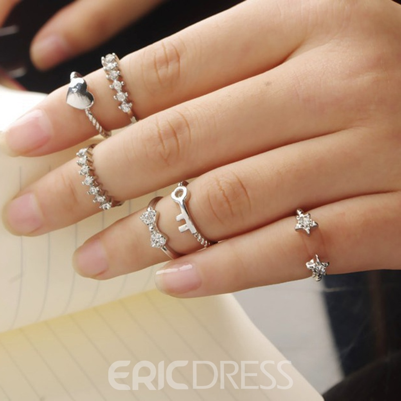 Ericdress Chic Diamante Multi-Elements Six-Piece Ring Set