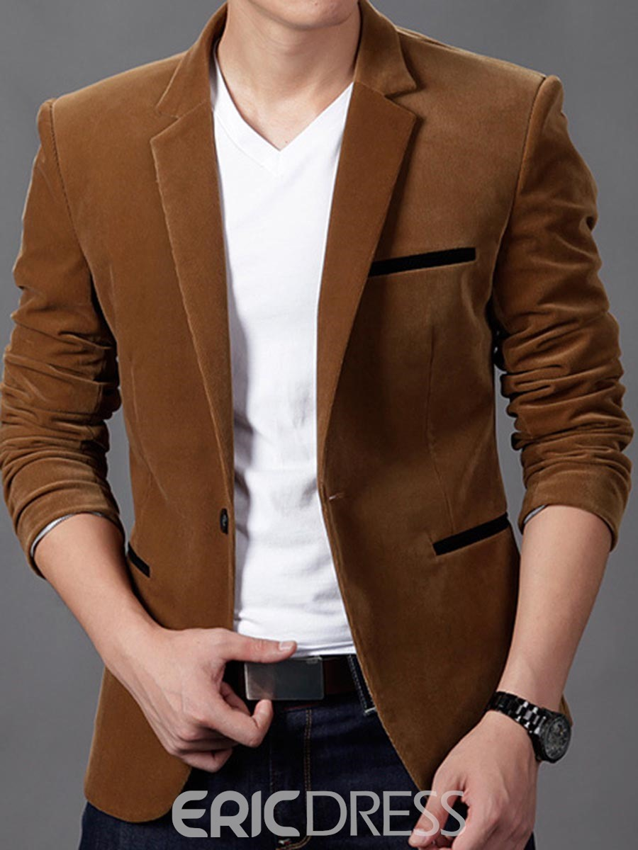Ericdress Notched Lapel Solid Color Slim Men's Casual Blazer