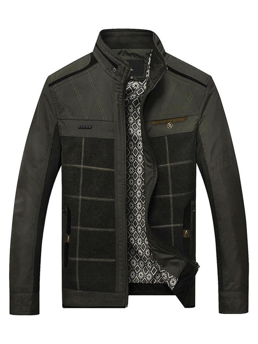 Ericdress Patchwork Zipper Color Block Men's Jacket