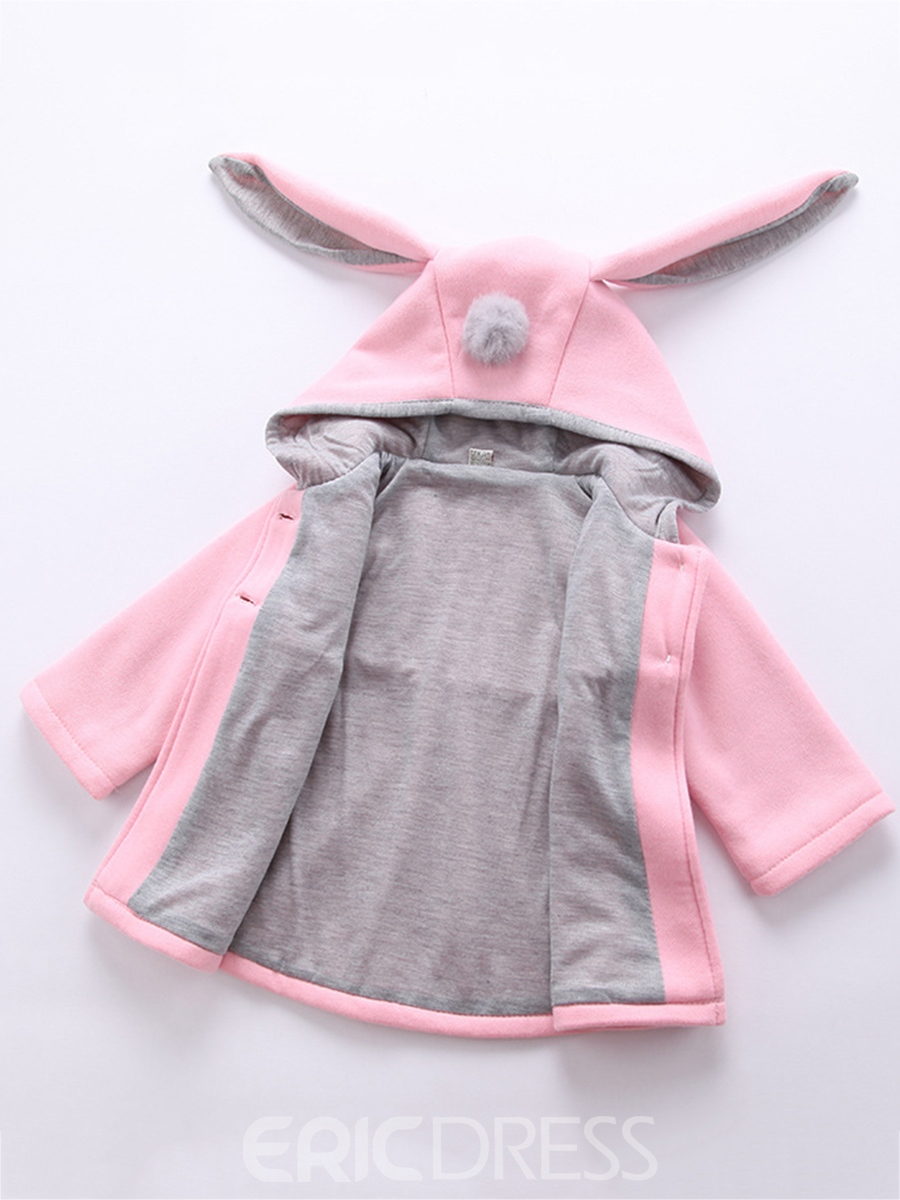 Ericdress Color Block Rabbit Ears Hooded Girls Outerwear