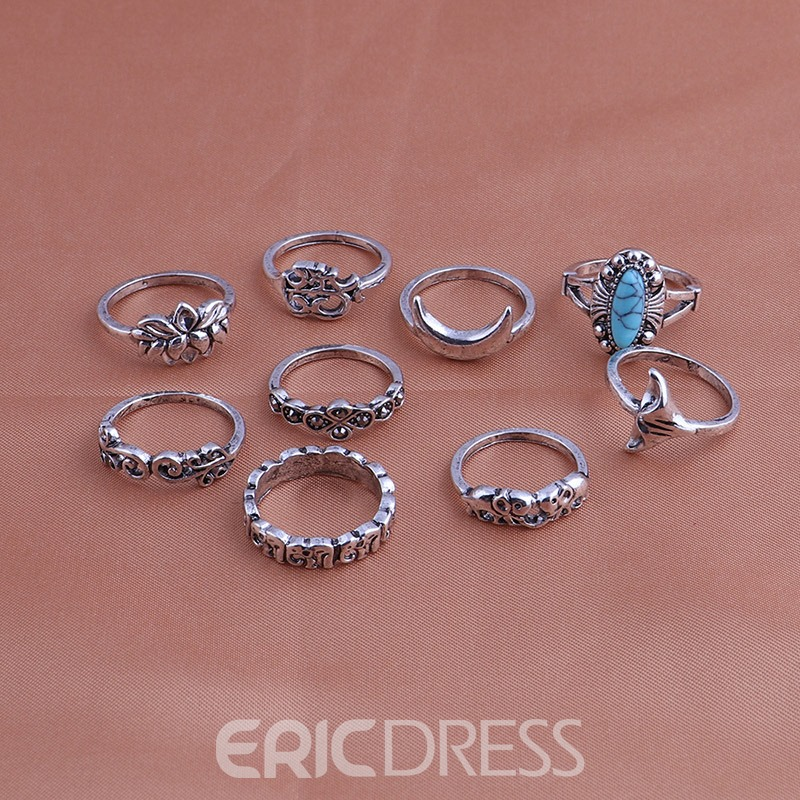 Ericdress Vintage 3D Turquoise 9-Piece Ring Set for Women