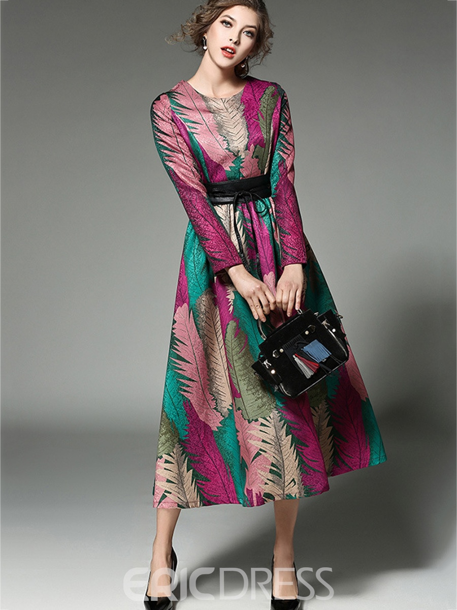 Ericdress Scoop Plant Print Maxi Long Sleeve Dress