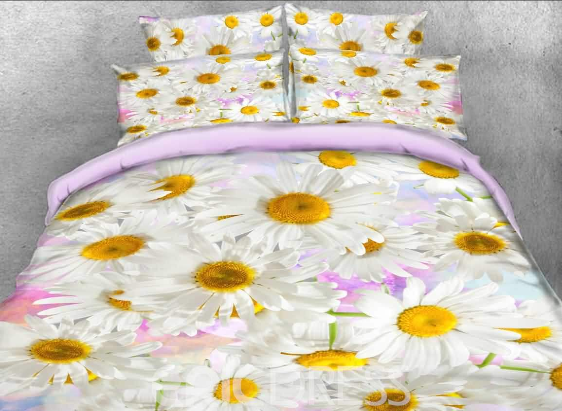 White Daisies Printed Cotton 3D 4-Piece Bedding Sets/Duvet Covers