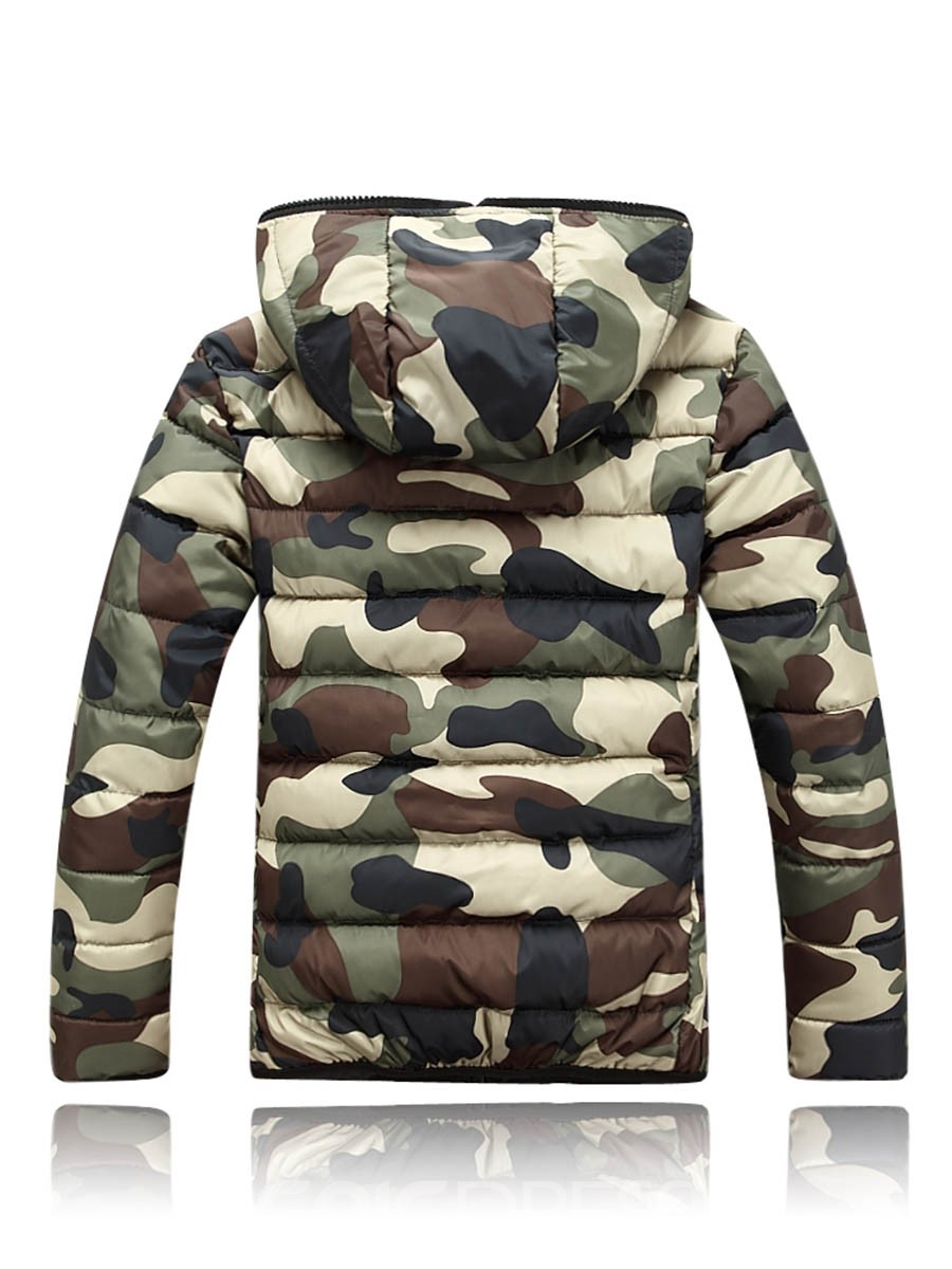 Ericdress Camouflage Hooded Zipper Style Men's Down Jacket