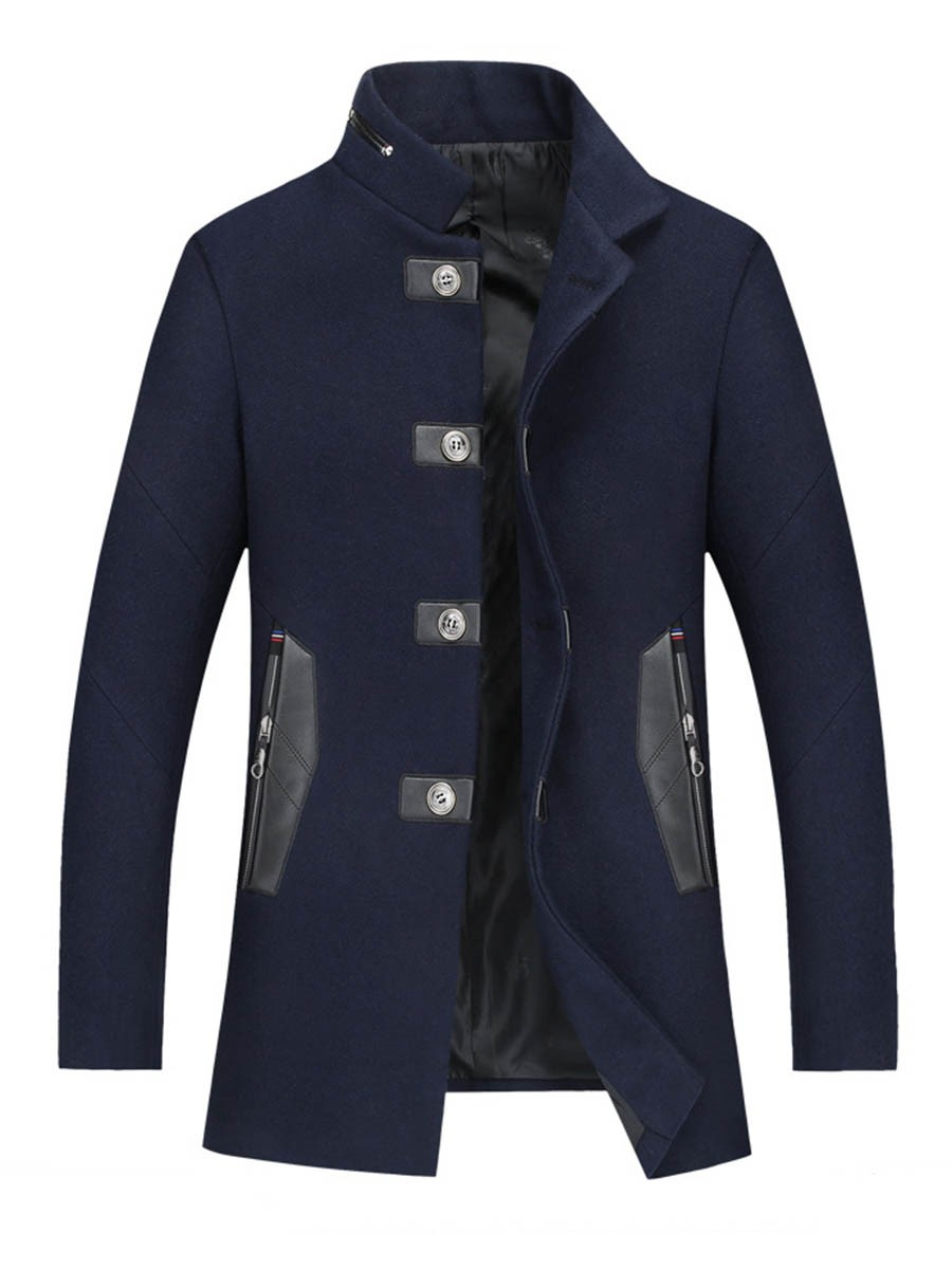 Ericdress Mid-Length Stand Collar Patchwork Men's Trench Coat