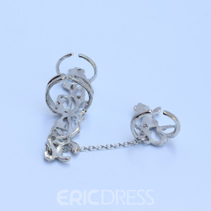 Ericdress Exquisite Rose Rhinestone Hollow Out Women's Ring