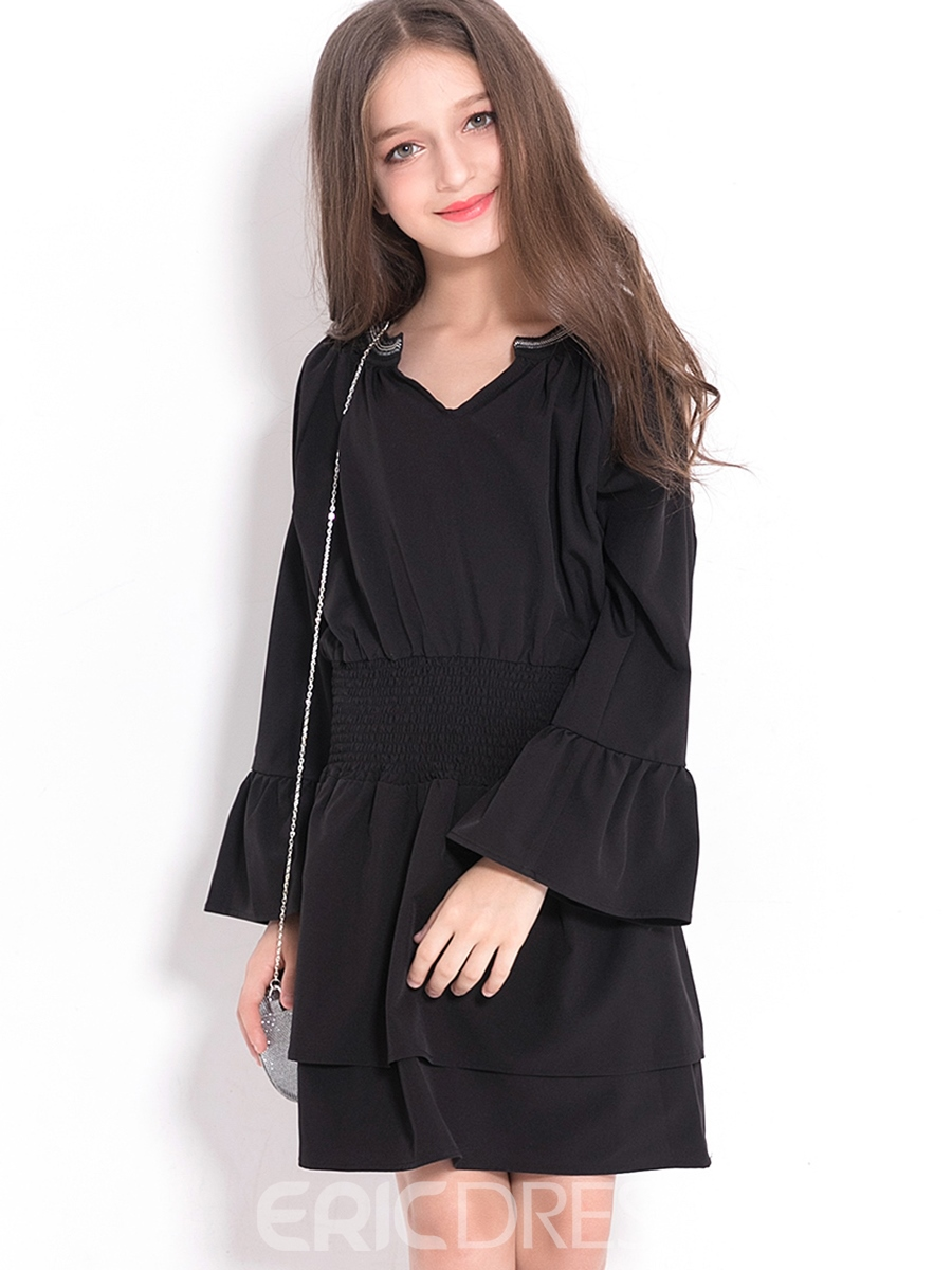 Ericdress Elegant Bell-Sleeve Pleated Stapless Fall Girl's Dress